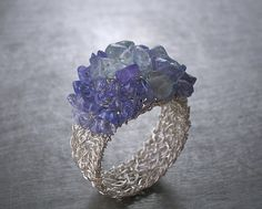 Tanzanite Aquamarine Ring Fine Silver Wire Crochet by vivart70