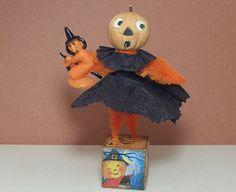 Halloween vintage style art doll pumpkin by Antiquememories, $14.99