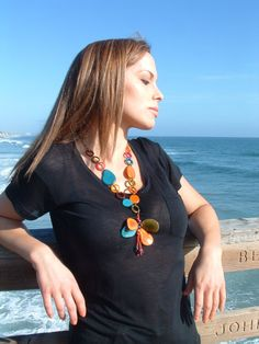 Summer butterfly multicolor  long tagua by OrganicjewelrybyAlli, $39.99