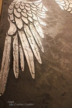 Angel Wings Stencil with silver leaf on Canvas | Simple Southern Charm                                                                                                                                                     Más