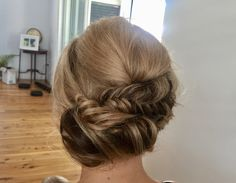Bridesmaid style with a touch of fishtail plait and soft curls! #hairbyrosie #wedding #hairstyle