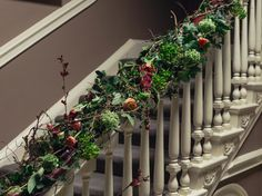 Staircase decorated with flowers