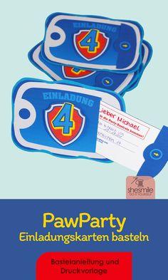 Bastelanleitung und Druckvorlage als PDF-E-Book für eine PawParty Einladungskarte mit Zahlenwappen im Superhelden-Stil und ausziehbarer Textkarte zum Geburtstag oder dem Spielenachmittag! Print Templates, Craft Tutorials, Superheroes, Invitations, Printing