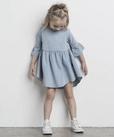 Huxbaby Drop back dress chambray dress Fashion Kids, Little Girl Fashion, Toddler Fashion, Fashion Clothes, Fashion Dresses, Dresses Kids Girl, Kids Outfits, Girls, Coco Moda