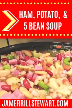 Ham, potato, and 5 bean soup is sure to fill a growing family's tummy for not a lot of cash. This is a great dump and go meal that won't break the bank. Ham And Beans, Ham And Bean Soup, Ham Soup, Potato Recipes Crockpot, Hearty Soup Recipes, Slow Cooker Freezer Meals, Slow Cooker Recipes, Freezer Cooking, Crockpot Meals