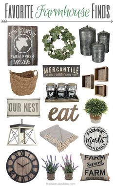 Favorite Farmhouse Finds for your Home - Fixer Upper Style A guide to some fabulous farmhouse decor for your home. All without breaking the bank. Get that Fixer Upper look now with these farmhouse finds! Country Farmhouse Decor, Farmhouse Style Decorating, Farmhouse Chic, Decorating Your Home, Rustic Decor, Kitchen Country, Farmhouse Decor Amazon, Modern Decor, Amazon Home Decor