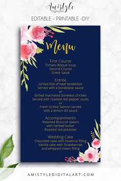 Printable Wedding Menu Card- with adorable watercolor roses elements in navy blue by Amistyle Digital Art on Etsy