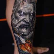 What does poseidon tattoo mean? We have poseidon tattoo ideas, designs, symbolism and we explain the meaning behind the tattoo. Skull Tattoos, Leg Tattoos, Black Tattoos, Body Art Tattoos, Tattoos For Guys, Sleeve Tattoos, Tattos, Warrior Tattoos, Badass Tattoos