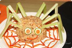 Spider cheese ball on web #halloween