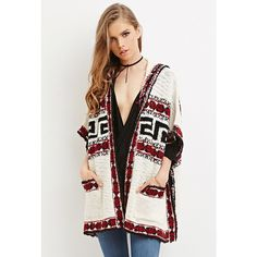 Forever 21 Forever 21 Women's  Geo-Patterned Cardigan (45 CAD) ❤ liked on Polyvore featuring tops, cardigans, white cardigan, geometric print cardigan, full length cardigan, forever 21 cardigan and geo print cardigan