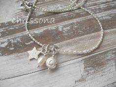 Perlenkette Sterling Silber Stern Schnecke von chrissona auf DaWanda.com