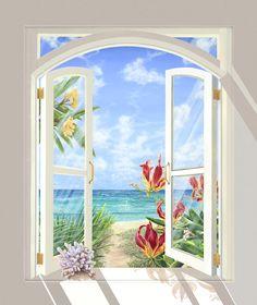 Coral Beach (Acrylic on canvas) Window Mural, Mural Wall Art, Mural Painting, Garden Mural, Beach Wallpaper, Tropical Art, Beach Art, Beautiful Paintings, Picture Wall