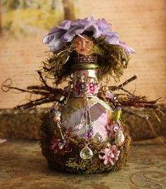 Zinny  Altered Art Decorative Glass Bottle Doll by wingsnscales Tutorial, includes videos and PDF files, $15.00 Discounted price #wingsnscales