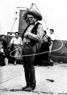 """James Dean horsing around on the set of """"Giant"""" (1956)."""