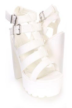 White Strappy Peep Toe Chunky Platform Heels Faux Leather | Sexy