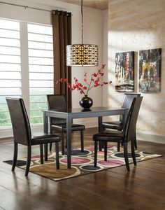 Kimonte Rectangular Dining Table W 4 Ivory Chairs