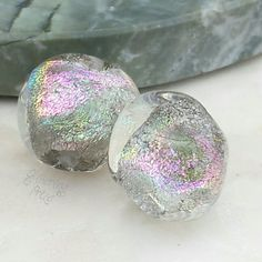 Lampwork Beads Silver Ice Rainbow Nuggets by GlitteringprizeGlass for jewellery making   #lampwork #beads #handmade #etsyhunter #glitteringprizeglass #etsy #rainbow #silver