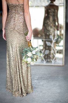 Gold sequin Badgley Mishka dress | Mikkel Paige Photography and Moana Events | see more on: http://burnettsboards.com/2015/05/industrial-glam-wedding/
