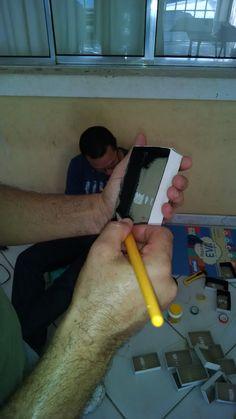 Pintando caixa do quebra-cabeça