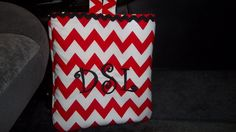 Delux Red Chevron Car Trash Bag  Personalized by reademandwreath, $21.00