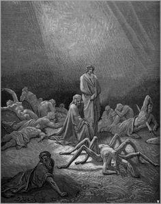 - 구스타브 도레,<신곡 연옥편 12곡을 위한 삽화>,1868.    - 작품해설 : 이 그림의 주제는 '교만함에 대한 형벌'이다. 오른쪽의 칼에 찔린 사람은 성서에 나오는 사울 왕인데, 교만함의 벌로 자기 칼에 스스로 엎어져 죽었다고 한다. 가운데는 교만의 벌로 아테나에 의해 거미로 변하는 아라크네이다.   - 거미의 상징 : 악의 없어 보이는 겉모습과는 달리 투명한 거미줄로 곤충을 잡아먹는데서 악마, 사기 등을 상징하게 되었다.   - 나의 감상 : 아라크네가 아테나의 벌을 받아 거미로 변하는 모습이 매우 시각적이면서도 인상적이다. 때로는 다양한 컬러보다도 극명한 대비를 나타낼 수 있는 흑백이 작가가 말하고자 하는 바를 잘 표현하는 것 같다.