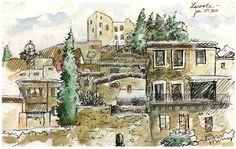 Europe Travel Sketchbook by Nicholas DeBruyne, via Behance