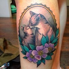 momma and baby cat tattoo