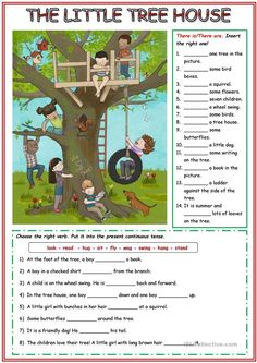 The little tree house - English ESL Worksheets English Grammar For Kids, Learning English For Kids, English Worksheets For Kids, English Lessons For Kids, English Activities, Learn English Words, English Vocabulary, Teaching English, Picture Comprehension