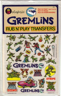 Gremlins Rub N' Play Transfers 80s Kids, Gremlins, Ol Days, My Childhood Memories, Teenage Years, The Good Old Days, Vintage Toys, Bunt, Cool Stuff