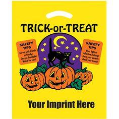 "Halloween Die Cut/Yellow - Trick-or-Treat - Flexo Ink - Halloween Stock Design Yellow Die Cut Bag - Trick-or-Treat (12""x15"") - Flexo Ink"