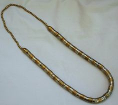 Vintage Silver Metal & Brass Statement Necklace Stacked Snake Coil