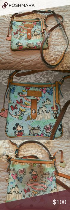 Disney Dooney and Bourke Sketch Blue Disney Dooney and Bourke bag.   I got this purse from a friend and I carried around at the park not realizing my sweatshirt was rubbing against it and it got all dirty.  I called Dooney and Bourke and they said I could send them my bag and they would give me a credit but I couldn't get another Disney bag.   This just sits in my drawer so I figured I'd try and see if anyone wanted it.   Other than the stain on the back it's in great shape.   It comes from…