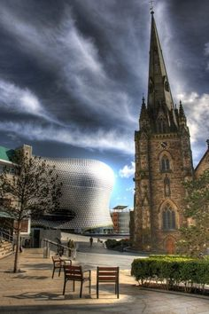 allthingseurope:    Selfridges Department Store and St. Martin Cathedral in Birmingham UK  source