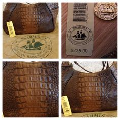 New Pictures Brahmin Juliette Beautiful Brahmin Juliette Croc Embossed Multi-Colored Brown & Caramel Large Hobo Handbag PRE- OWNED/ BARELY USED / VERY GOOD CONDITION / HARD TO FIND ***INK STAIN INSIDE BOTTOM OF THE HANDBAG*** AUTHENTIC W TAG & DUST BAG SMOKE & PET FREE HOME Brahmin Bags