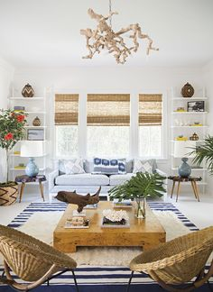 Love how these striped roman shades match the color of the straw chairs. Perfect for a beach house.  Interior design ideas ~ home decor ~ window treatments ~ Dream homes
