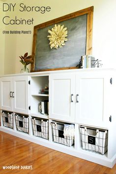 DIY Storage Console -{With Cabinets, Shelves, and Cubbies!} : How to build a combination toy storage cabinet Looking to add some storage to your living or play room? This unique DIY storage console design incorporates cabinets, shelves, and cubbies! Toy Storage Solutions, Diy Toy Storage, Storage Baskets, Kids Storage, Baby Storage, Photo Storage, Storage Design, Small Storage, Living Room Toy Storage