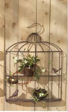 """Decorative 32"""" WALL BIRDCAGE with SHELVES"""