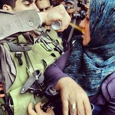 What you will do if you see anyone doing this to your mother?.. Zionists spraying pepper-spray at a Palestinian women. #BDS
