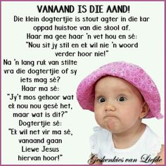Vanaand* Goeie More, Afrikaans Quotes, Special Quotes, Happy Wednesday, Crochet Hats, Funny, Logos, Gallery, Humor