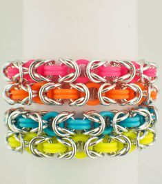 Premium Byzantine Stretch Chainmaille Bracelet Kit - Neon Rubber and Aluminum on Etsy