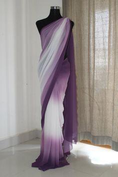 Shaded georgette saree Length : metres Dispatched in 4 to 7 days Chiffon Saree, Satin Saree, Georgette Sarees, Lehenga Choli, Anarkali, Saree Wedding, Desi Wedding, Saris Indios, Outfits