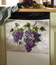 Tuscan kitchens – Mediterranean Home Decor Wine Theme Kitchen, Grape Kitchen Decor, Italian Kitchen Decor, Yellow Kitchen Decor, Purple Kitchen, Kitchen On A Budget, Kitchen Ideas, Kitchen Dishes, Kitchen Designs