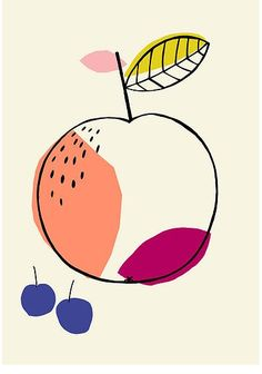 Fruit illustration, Susan Driscoll surface pattern design What i like about this work, is that it uses only 5 colors in this simple illustration Art Et Illustration, Pattern Illustration, Papier Kind, Art Watercolor, Design Poster, Arte Floral, Illustrations And Posters, Surface Pattern Design, Textile Design