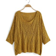Round Neck Open-Knit Yellow Sweater (€16) ❤ liked on Polyvore featuring tops, sweaters, yellow, open-knit sweater, sweater pullover, brown pullover sweater, open stitch pullover sweater and open-stitch sweater