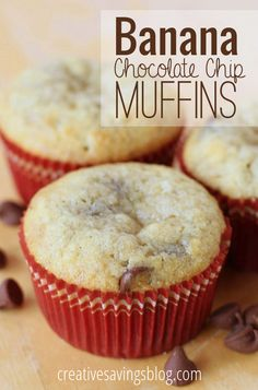 Craving something slightly healthy, but even more sweet? These banana chocolate chip muffins are a great way to use up overripe produce, and taste great for a quick breakfast or snack!