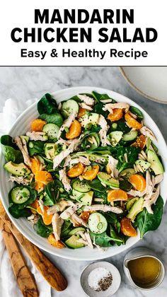 Healthy Diet Recipes, Veggie Recipes, Chicken Recipes, Dinner Recipes, Healthy Eating, Cooking Recipes, Main Dish Salads, Dinner Salads, Spring Recipes
