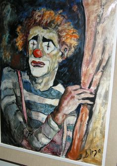 """Diego Voci™ The DVP received this DIEGO Clown from a collector in Canada whose family purchased it in Germany 1968. We showcase this exceptional DIEGO to continue the domino effect with DIEGO Collectors around the world. Emotions are the strength DIEGO exudes as he painted clowns.  The power in composition, contrast of bold to light & skill in style, a contemporary impressionistic feel make it unique. DIEGO's market is created by his collectors. A Diego Clown, 1968, 32"""" x 24"""" oil on canvas."""