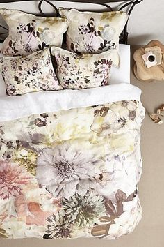 Bedding - This duvet's petal-soft hues and cooling jewel tones create a languid balance of color that anchors a room.