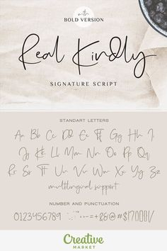 Real Kindly is a handwritten typeface coming with Regular and Bold versions. Its casual look makes it the perfect fit for signature logos, printed quotes, wedding invitation cards, social media headers, product packaging and a lot more! Calligraphy Fonts Alphabet, Handwriting Alphabet, Hand Lettering Alphabet, Typography Letters, Full Alphabet Fonts, Wedding Calligraphy Fonts, Alphabet In Different Fonts, Cute Handwriting Fonts, Cursive T