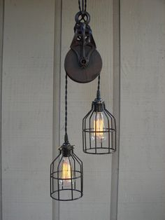 upcycled vintage farm items | Upcycled Vintage Farm Pulley Lighting Pendant by BenclifDesigns